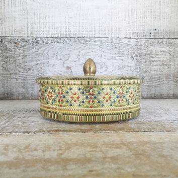 Vintage Tin Metal Tin Made In England Embossed Floral Tin with Lid Colorful Storage Box Trinket Box Jewelry Box Vintage Storage Gift Box