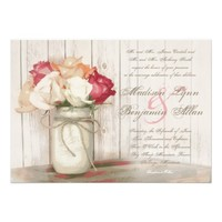 Rustic Country Mason Jar Roses Wedding Invitations