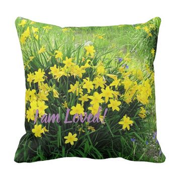 I am Loved Bright Yellow Flowers Throw Pillow