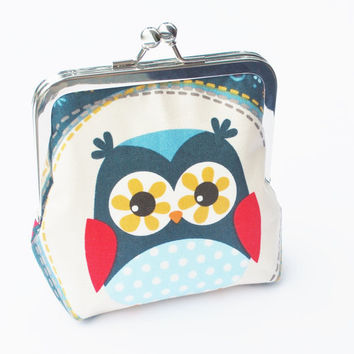 Owl Coin Purse, Vegan Wallet, Fabric Purse, Navy Fabric, Colorful Flowers