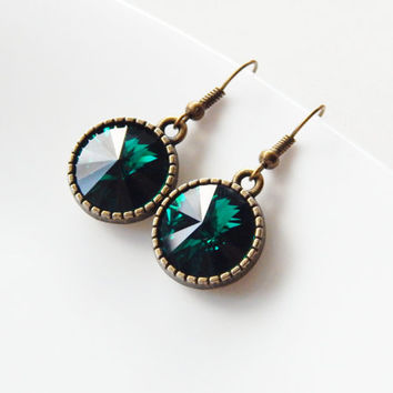 Emerald green Swarovski crystal dangle earrings Dark green Swarovski rivoli earrings