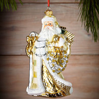 MacKenzie-Childs Winter White Santa Christmas Ornament
