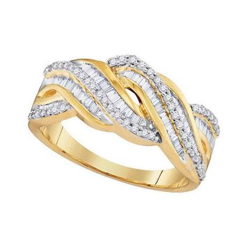 10kt Yellow Gold Womens Round Baguette Diamond Twist Band Ring 1/2 Cttw