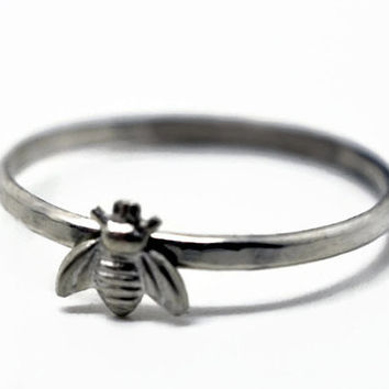 Sterling Honey Bee Ring, Sterling Silver Stacking Ring, Animal Ring, Bee Jewelry