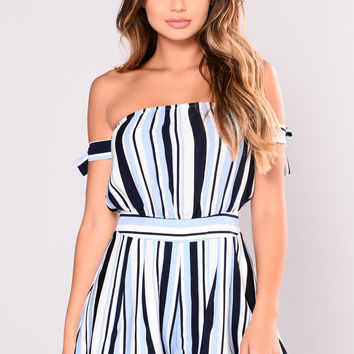 All On Me Rompers - Blue