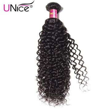 "UNICE HAIR 100% Curly Weave Human Hair Brazilian Hair Bundles Natural Color Remy Hair Extensions 1 Piece 8""-26"" Can Mix Length"