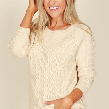 Love On Me Lace Up Sweater Ivory