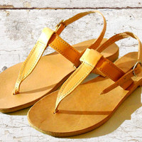 Greek Tan leather sandals, women sandals, nude sandals, authentic leather handmade sandals, women shoes, stylish sandals