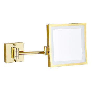 GURUN LED 8 inch Dual Arm Extend Bathroom Mirror with LED light 2-Face  3 x magnifying bathroom mirrors brass shaving mirror