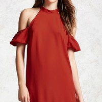 Open-Shoulder Shift Dress