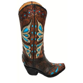 Cowgirl Kim Turquoise Cowboy Boot Vase