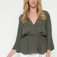 Olive V Neck Peplum Wrap Top