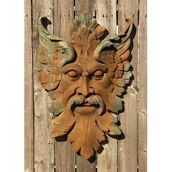 Florentine Green Man Garden Wall Plaque 25H