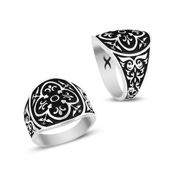 Turkish art design band silver mens ring