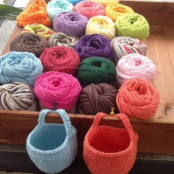 Doorknob basket, organizer basket, colors including blue, purple, yellow, green and more, hook basket, hanging bin, crochet, handle  basket