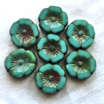 12 Czech glass flower beads, table cut, carved, opaque turquoise blue green picasso 12mm Hawaiian Hibiscus floral beads C05201