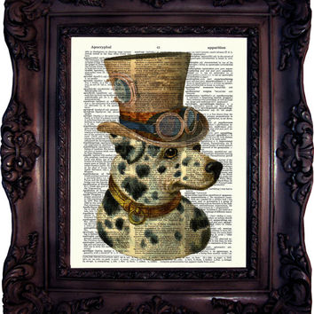 Dalmatian in Top Hat. Print on Book Page. Dictionary art print. Vintage Art Print. Dog print. I love Dogs.Wall mounted. Home decor. Code:342