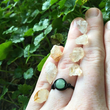 Ring, gemstone ring, Aventurine jewelry, Aventurine ring, wire wrapped ring, wire ring, bohemian ring, custom ring, healing crystals, stones