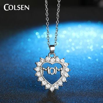 COLSEN Family Heart Pendant Necklace 2017 pendant  Thanksgiving Gift for mom Brand custom alloy Female personality jewelry woman
