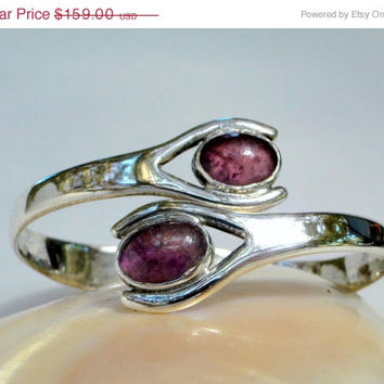 On SALE Pre-Taxco Iguala Mexican Sterling Signed Cuff Antique Amethyst Bracelet, Large Size, Gift Idea
