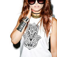 Junk Food Clothing Hamsa Tank Electric White