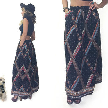 Vintage 1970's SUTTLES & SEAWINDS Designer Paisley Boho Country Western Folk Maxi Festival Black Maxi Skirt || Size Medium to Large