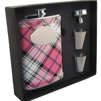 Valor Pink Plaid 8oz Stainless Steel Hip Flask Gift Set