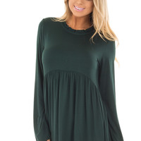 Hunter Green Long Sleeve Baby Doll Top