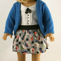 American Girl Doll Clothes - Peter Pan Collar Blouse with Pintucks, Blue Cardigan, and Skirt with Exposed Elastic