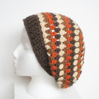 OUT OF STOCK/SOLD - Boho Slouchy Crochet Granny Style Tam Hat in Brown, Orange and Cream - SOLD!!!
