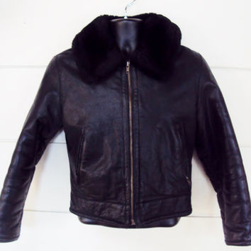 Cropped Leather Jacket FUR COLLAR Brass Zipper MOTO Biker Jacket Small