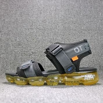 Off White x Nike Air VaporMax Sandals Black Yellow Slides 850588-002 Flip Flops - Best Online Sale