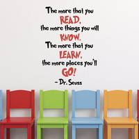 Dr Seuss Wall Decal Quote The More That You Read, Dr Seuss Nursery Wall Decal Vinyl Lettering Quotations Kids Children Wall Art Decor Q267