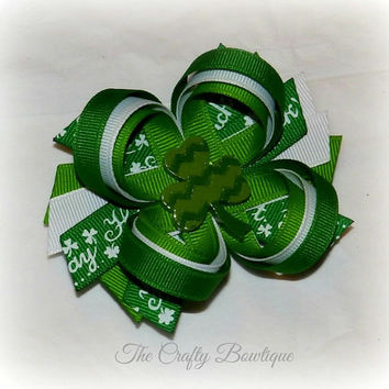 Shamrock ~ St. Patrick's Day Bow ~ Layered Bow with Spikes ~ Green & White ~ Fancy Hair Bow ~ Loopy Bow ~ Spring Hair Bow ~ Bow for Headband