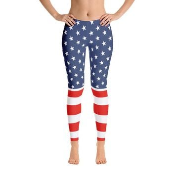 Independence Day Striped Flag Leggings