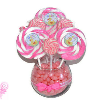 Small Round Pink Lollipop Candy Baby Shower Centerpiece (Its a girl!)