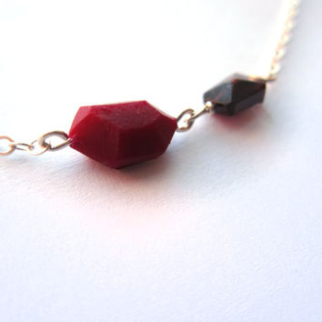 Little gemstone necklace, small geometric necklace, genuine garnet gemstone, tiny wedding necklace, gifts for her, sterling silver gemstone