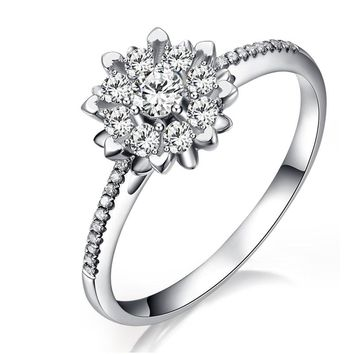 Natural Diamond Engagement Ring 0.1+0.16ct Diamond Jewelry for Women Handmade Wedding Band 18K White Gold
