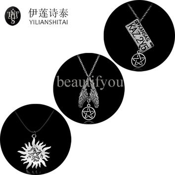 4Types Supernatural Necklace Pentagram Castiel Wings Angel Wicca Dean Winchester Jensen Ackles amulet Cool Pendant Chram Jewelry