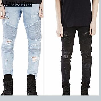 Man si Tun 2017 Destroyed Mens Slim Denim Biker Skinny Jeans Men Ripped Jeans Fashion Represent Clothing Designer Pants
