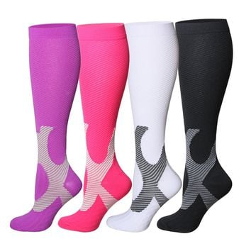 Compression Socks For Women and Men - 20-25mmHg- 4 Pairs BEST Stockings for Running, Athletic, Edema, Diabetic, Varicose Veins, Travel, Pregnancy & Maternity
