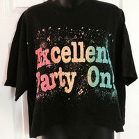Vintage 1990s Excellent, Party On! wayne's world crop top t-shirt