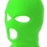 Top Headwear Three Hole Neon Colored Ski Mask - Green