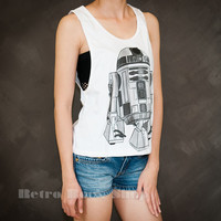 R2D2 Star Wars Sexy Sideboob Tank Top Low Cut Cropped Shirt Choice of Size S M L