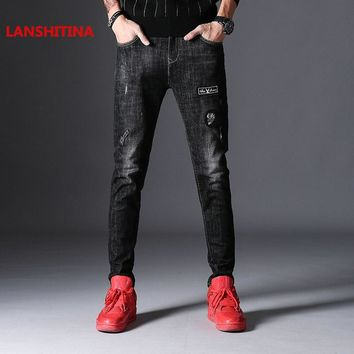 LANSHITINA 2018 Skinny Jeans Men Stretch Ripped Denim Jeans Cotton Casual Patchwork Jean Male Designer Slim Quality Jeans Homme