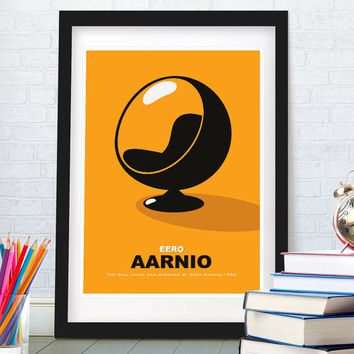 Scandinavian design art print, Mid century modern, Ball chair by Eero Aarnio, Pop art, Home decor