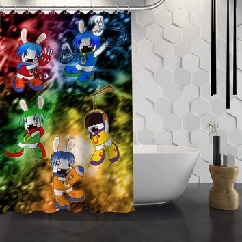 Custom Rabbids  Shower Curtain Waterproof Fabric Bath Curtain for Bathroom WJY1.17