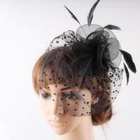 Multiple color available black crinoline fascinator headwear 3 roses with bridal veil adorned party and wedding hair accessories