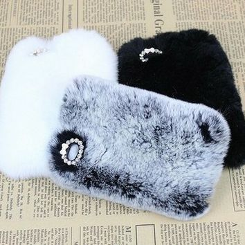 New Chic Luxury Furry Rabbit Fur Bling Rhinestones Mobile Cell Phone Case Cover for iPhone 4s 5s 6 Plus Samsung - Casemoda | Pinkoi
