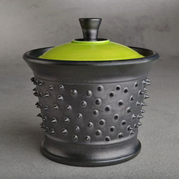 Spiky Sugar Bowl Ready To Ship Lidded Black and Neon Green Dangerously Spiky Sugar Bowl by Symmetrical Pottery